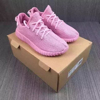 Cheap With Box Adidas Yeezy Boots 350 Men Women Running Shoes Fashion Yeezys 350 Jogging Shoes Pink 100% Original Sneakers Free Shipping