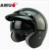 abs carbon fiber - Open face carbon fiber light weight motorcycle helmet with inner sunglasses helmet jet style helmet Genuine ABS material support