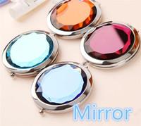 Wholesale 100pcs cm folding makeup mirror compact mirror with crystal metal pocket mirror Box gift cosmetic mirror Free Ship Logo Print A0152