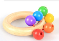 Wholesale 1pc New Hot sell Wooden Tambourines child wood Bell cartoon Handbells toy Educational Toys WJ037