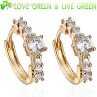 baby earrings uk - UK Queen Kate design brand women girl baby k gold Plated import AAA zircon fashion crystal hoop earrings Jewelry
