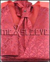 ascot tuxedos - hot sale jacquard floral red Men s Tuxedo Vest ascot tie