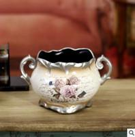 accessories tabletop decorations - 1PCS European retro pastoral ceramic vase ornaments home accessories luxury living room bedroom decoration flower decoration