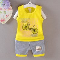 baby girl bikes - 2016 Summer Hot Selling Korean Style Baby Clothing Sets Printed Bike Striped T shirt Shorts Boys And Girls O Neck Sleeveless Casual Pyjama