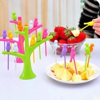 Wholesale 480pcs LJJG180 Tree Birds Design Plastic Fruit Forks Set Rainbow Color Party Reuse Dessert Cake Fruit Picks Kitchen Accessories