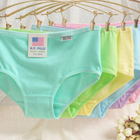 Wholesale Woman Cotton Underwear Girl Solid Underpants Crotchless Low Waist Briefs Multi color Ladies undies