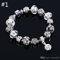 Wholesale beaded charms jewelry bracelets infinity beads bracelet Colors Fashion Silver Daisies Murano Glass Crystal European Charm Beads Fits