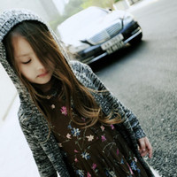 Wholesale 2016 Autumn Winter Girls Sweater Dress Children s Clothing Long Tops Cardigan Hooded Outerwears Knitted Sweaters Kids Knitwear Sweater Coat