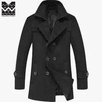 Wholesale Woolen Coat Men s Jacket New Winter Long Woolen Cloth Coat Men Windbreaker Hale Wool Blends S XL Free mailing