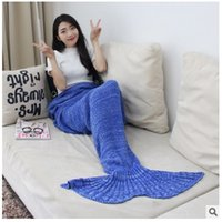 Wholesale colors winter Mermaid Tail Blanket Soft Handmade Lap Throw Bed Wrap Fin Warm Cocoon Costume Adult Sleeping Bag