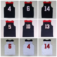 Wholesale 2014 USA Basketball Jerseys Dream Team American Shirts Uniforms With Player Name Team Logo Navy Blue Best Quality