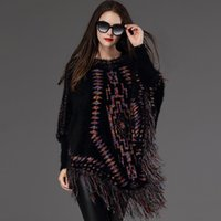 Wholesale 2016 Autumn Winter Europe Fashion Women s Poncho Sweater Lady s Jacquard Knitted Tops Bat wing Sleeve Pullovers Knitwear Tassels Sweaters