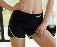 Wholesale Summer Women Sport Shorts Contrast Side Split Elastic Waist Sexy Sportwear Fitness Workout Trousers XL Green Pink