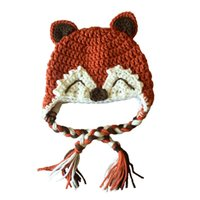 baby smile photo - Adorable Smiling Fox Hat Handmade Knit Crochet Baby Boy Girl Earflap Animal Hat Kids Halloween Costume Infant Toddler Photo Prop