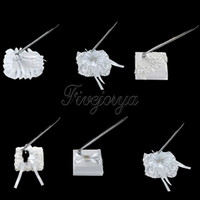 Wholesale White Wedding Pen Set with Satin Ribbon Roses Wedding Pen Stand with Rhinestones for Wedding Decoration