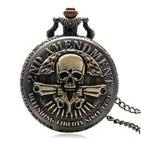 Wholesale New Arrival ND AMENDMENT Guns Design Pocket Watch Men Vine Pendant Watch Hot P987