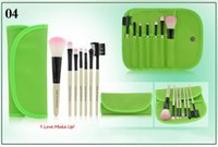 best traveling bags - Best Price Beginner MakeUp Brush Set Green Color Cosmetic Tools Traveling Make Up Brush Kits Foundation Brush with PU Bag