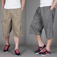 big mens work pants - Fashion mens Cotton Plus big size fat multi pockets work Male trousers pocket baggy cargo Pants shorts Knee Length Capri for men xl xl