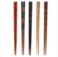 Wholesale 10 Pairs Chinese Traditional Wood Carved Bamboo Style Chopsticks Tableware Hot Sale