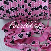 Wholesale 5 quot cartoon printed fold over elastic ribbon for hair accessories yards