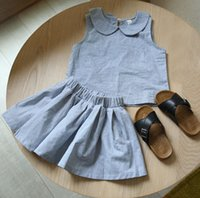 baby doll fashion tops - INS fashion children outfits new girls doll collar gray vest tops skirt sets preppy style baby kids summer clothing A8790