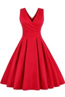 Beads audrey dress - 2016 New Red Vintage Retro Summer Dress Audrey Hepburn Swing Evening Party s Vintage Dress Pin Up s Rockabilly Dresses FS0494