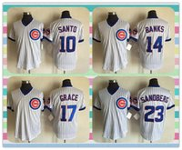 Wholesale New Men Chicago Cubs Baseball Jersey Ron Santo Ernie Banks Kris Bryant Ryne Sandberg White Stripe Throwback Jerseys