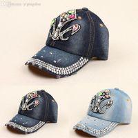ab baseball - New Hot sale Summer style AB rhinestone cowboy baseball axe point drill baseball cap for women High quality New Retail