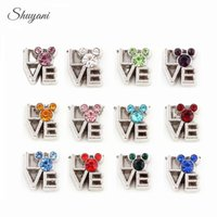 Wholesale Mix Color Crystal Mouse Head Charms Birthstone Love DIY Floating Lockets Charms for Bracelet Living Memory Glass Locket Necklaces