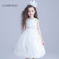award fabric - Crown Pagean beauty pageant awards designer dresses for kids White round neck Belt decoration Crepe fabrics Bubble Skirt