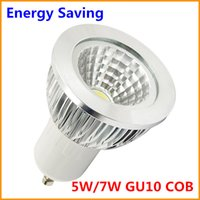 Cheap 100Pcs LED COB GU10 5W 7W dimmable lamp light Warm white 110V 220V COB GU 10 Spotlight Energy Saving CE RoHS Free DHL