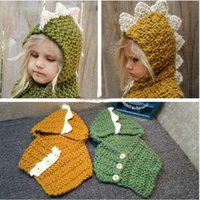 Wholesale 2 Colors Cartoon Ins Dinosaur Baby Hat With Scarf Shawl Knitted Lovely Kids Ins Winter Hats Children Cap Skullies Beanies CCA5082