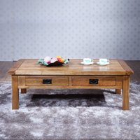antique style coffee table - Soild Wooden Oak Tea Table Low End Table With Drawers American Style Sample Coffee Table