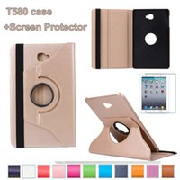 Wholesale 1pc Samsung Galaxy Tab A inch T580 T585 Case with screen protector Degrees Rotating Stand Case Cover