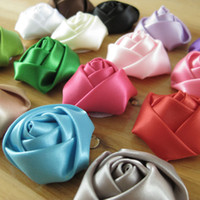 Wholesale DIY Baby Kids Satin Rolled Ribbon Rose Flowers cm Satin Ribbon Rose Flower For Clothes Wedding flowers