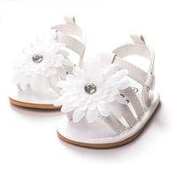 Wholesale 6pairs Comfortable White Baby Toddler Infant Flower Sandals soft sole Bottom Kids Floral Prewalker Shoes