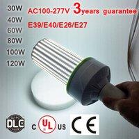 AC100-277V Ventilateurs doubles de conception légère 20W 30W 40W 60W 80W 100W 120W DLC CE UL E26 E39 Ampoule De Haute Qualité De LED