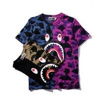 Cheap camouflage Harajuku Street Fashion Shark T-shirts 2 Color Cotton Short Sleeve Top crew neck Tees Size M-XXL