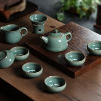 al por mayor té de belleza chino-Venta al por mayor de belleza-10 PC chino Longquan porcelana celadón imitado antiguo esmalte artesanales con el paquete de regalo de China Kung fu juego de té