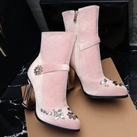adhesive velour - 2016 Hot selling Velour Boots Metal Flower Cage Heel Beading Ankle Boots Pink Wedding Shoes Winter