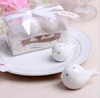 Wholesale 2Pcs Set White Love Birds Ceramic Salt Shaker Pepper Shakers Set Personalised Wedding Favors event Party Decoration supplies