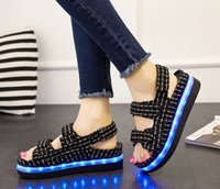 Wholesale USB charge Women s LED Summer Sandals Shoes Waterproof Lighted Shoes Student Casual Platform Wear
