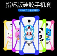 Wholesale New Universal Silicone Frame Bumper D Cartoon Minnie Kitty Mobile Phone Bumper For Iphone S S plus Case With Ring Buckle Bracket