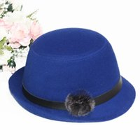 Wholesale Streetwear women s fashion solid vintage style fedora bowler hat for women cotton spring summer felt hats with rabbit fur ball