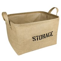 Wholesale Jute Storage Basket Bin and Organizer with Handles for Bookshelf Cabinet Kids Room Playroom