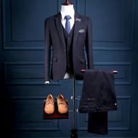 Wholesale Stripe Color Flats - Custom One Button Navy Blue with Blue Stripes Mans Formal Parties Wear Ternos Mens Tuxedos 3 Pcs (Coat+Pants+Vest) NA21wool Suits