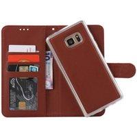 venda por atacado caso bolsa de couro blackberry-2 em 1 ovelhas magnética destacável carteira couro caso para iphone 7 mais I7 IPhone7 cartões foto moldura TPU telefone bolsa bolsa