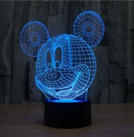 Wholesale The Mickey Mouse D LED Night Light Acrylic Colorful Atmosphere Lamp With USB Line Light Colors