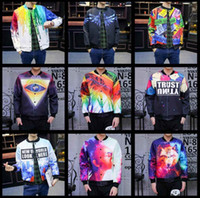 Wholesale Men jacket autumn and winter New pattern D Painting in water colours printing Man Cardigan Long sleeve jacket M XL sales