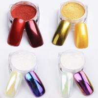 Wholesale 12 colors Nail Glitter Powder g Shinning Mirror Effect Nail Makeup Powder Nail Art with Brush
